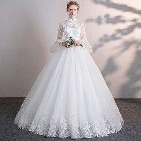 花嫁 ウェディングドレス ハイウエスト 妊婦もOK 大きいサイズ 袖あり 着痩せ ぽっちゃり 結婚式 二次会 ドレス 締め上げタイプ レース ロングドレス ウエディングドレス 撮影用 da176t2t2g5