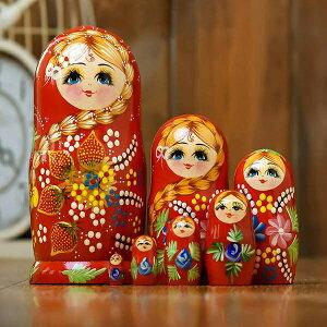マトリョーシカ ロシア 人形 民芸品 土産物 手作り人形 手描き オブジェ 7個組20cm インテリア雑貨 洋風 ギフト プレゼント 北欧雑貨 伝統工芸 おもちゃ 飾り 誕生日 キッズ 子供 部屋 ハロウ