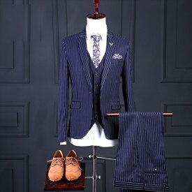 メンズ スーツ セットアップ 1つボタン メンズスーツ ビジネス セットアップ スリム MEN'S SUIT スリムスーツ 紳士服 背広 卒業 卒業式 ストライプ ネイビー【S/M/L/XL/2XL/3XL】dg558f0 /代引き不可