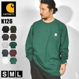 Tシャツ 長袖 carhartt カーハート ロンT ポケット メンズ レディース 黒 ブラック グレー ヘザーグレー 白 ホワイト オリジナルフィット かっこいい アメカジクルーネック ポケ付きロンT タグ コットン ロングスリーブ ロング K126 リブ 大きいサイズ おしゃれ