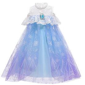 子供 ドレス 雪の女王 コスプレ コスチューム 半袖 ロング お姫様ドレス プリンセス なりきり 衣装 服 人気 誕生日 女の子用 子供用 ワンピース 雪の結晶 ブルー 青 水色