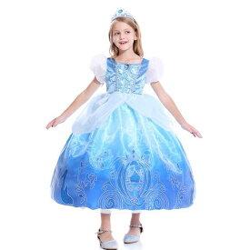 子供 ドレス シンデレラ コスプレ コスチューム 半袖 ロング お姫様ドレス プリンセス なりきり 衣装 服 人気 誕生日 女の子用 子供用 ワンピース 雪の結晶 ブルー 青 水色