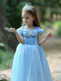 子供 ドレス シンデレラ コスプレ コスチューム ロング お姫様ドレス プリンセス なりきり 衣装 服 人気 誕生日 女の子用 子供用 ワンピース 蝶々ワンピース ブルー 青 水色