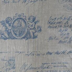 フランス輸入生地 メッセージ天使 リネン ベージュ・ブルー 生地幅150cm