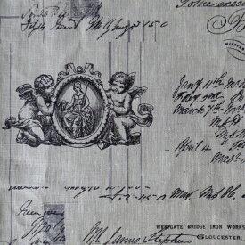 フランス輸入生地 メッセージ天使 リネン ノワール・ブランシュ・ベージュ・ブルー 生地幅150cm