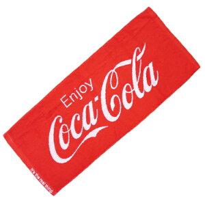 【7/30限定クーポン利用で100円OFF】【Coca Cola】コカ・コーラロゴ フェイスタオル コットン100% 34x80cm レッド 正規品 アメリカン雑貨 コカ・コーラグッズ facetowel