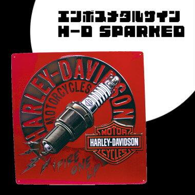 【 エンボスメタルサイン31 】H-D SPARKED【 ハーレーダヴィッドソン ハーレーダビットソン 】【 看板 メタルサイン アメ雑 アメリカン雑貨 ガレージ 】【メール便不可】
