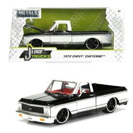 JADATOYS 1/24 1972 Chevy Cheyenne Pickup Glossy Black w/White ミニカー 箱入り JUST TRUCK ダイキャストミニカー ジャダトイズ シェビー トラック