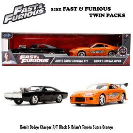 JADATOYS 1/32 ワイルドスピード ダイキャストミニカー ツインパック 箱入り ダッジチャージャーブラック*1台、トヨタ スプラ オレンジ*1台 ワイルドスピードミニカーセット FAST & FURIOUS DIECAST MINICAR ブライアン DOM 車