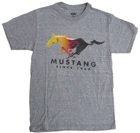 マスタングフレームス ホース Tシャツ 110T-S グレーGRAY USメンズSサイズ フォード車メーカーオフィシャルライセンスTシャツ アメ車Tシャツ メンズ半袖Tシャツ メンズUネックTシャツ アメカジ カジュアル ロゴ印刷プリントTシャツ