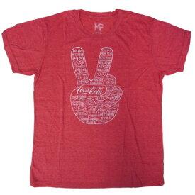 Tシャツ 123T-M コカコーラ Coca Cola Peace コカコーラ ピース US Mサイズ コカコーラtシャツ コカ・コーラグッズ メンズ半袖 uネックtシャツ カジュアル アメカジ レッド red t-shirt コカコーラ グッズ アメリカン コットン ロゴプリント 印刷 お洒落