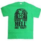 TシャツT343-SPREDATORWHATTHEHELLAREYOU?tシャツメンズSUSサイズ半袖TシャツT-SHIRTロゴtシャツアメリカ輸入メンズTシャツアメキャラクターキャラクターグッズ緑グリーン