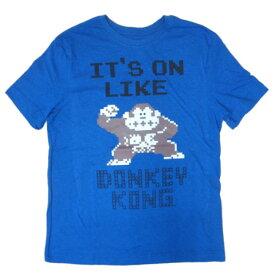 Tシャツ 42T-M/ ドンキーコング IT'S ON LIKE DONKEY KONG / DONKEY KONG【メンズM USサイズ 任天堂Tシャツ 任天堂グッズ メンズ半袖Tシャツ ブルー色Tシャツ Uネック アメカジ 任天堂ゲームTシャツ カジュアル ロゴ印刷 ロゴプリント コットン アメリカン