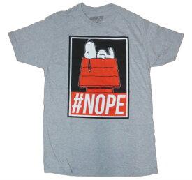 Tシャツ 26T-M/ スヌーピー #NOPE / PEANUTS アメリカメンズMサイズ グレー色 GRAY スヌーピーTシャツ スヌーピーグッズ メンズ半袖Tシャツ Uネック アメカジ カジュアル ゴロ印刷 プリント メンズTシャツブランド tシャツ sale セール コットン