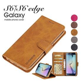 スマホケース Galaxy S6 edge 手帳型スマホケース かわいいGalaxy S6 シンプルGalaxy S6 レザー皮 革 カード入れGalaxy S6 手帳型スマホケースケース 二つ折り 磁石 Samsung Galaxy S6 SC-05GケースGalaxy S6 edge SC-04G スマホケース 財布付き