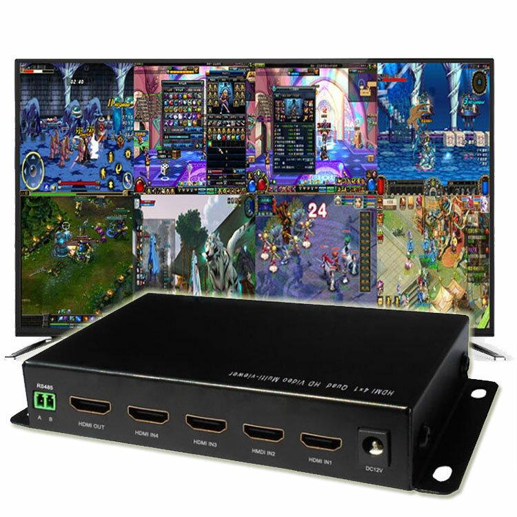 【ポイント5倍 店内全品 4/26 1:59まで】4画面分割器 HDMI切替 フルHD対応 同時出力 音声切り替え 全画面モード 瞬時切り替え リモコン付き 防犯監視DVR 売り場 展示 HDMI4SPNE