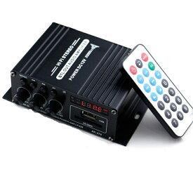 Bluetooth対応 2chオーディオアンプ 出力20W+20W USB/SDカード アルミボディ コンパクト Hi-Fiステレオアンプ 2Aアダプター/リモコン付 多機能 パワーアンプ LPAK370