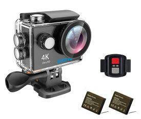 EKEN アクションカメラ ウェアラブルカメラ リモコン付き 4K 25fps WIFI連動 SONYセンサー 12MP画像 170°広角レンズ 専用ケース 自撮り棒 充電器セット EKENH9R