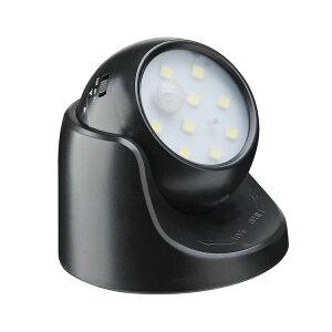 人感センサーライト 光センサー搭載 乾電池給電 取付簡単 廊下センサーライト 常時点灯/センサー点灯2モード設置可 360度回転対応 9LED搭 LEDS360B