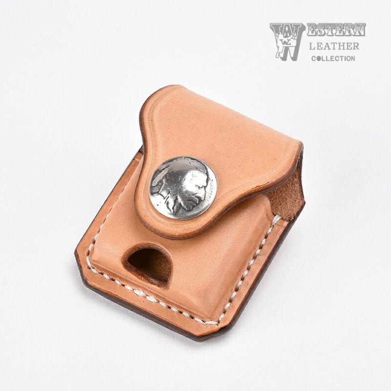 ウエスタンレザー ジッポケース 《タン》 ZIPPO CASE TAN 牛革 本革 コンチョ オールドコイン インディアンヘッド オイルライター ベルト ファニー FUNNY WESTERN LEATHER