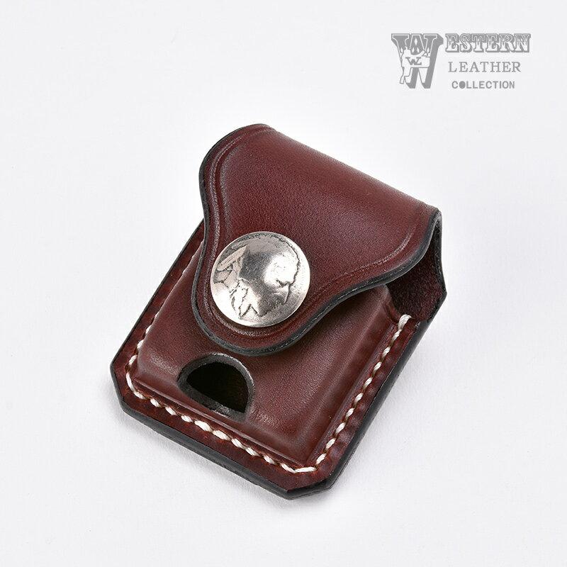 ウエスタンレザー ジッポケース 《ブラウン》 ZIPPO CASE BROWN 牛革 本革 コンチョ オールドコイン インディアンヘッド オイルライター ベルト ファニー FUNNY WESTERN LEATHER