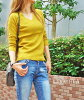Rib knit Lady's rib knit pullover v neck turtleneck tops inner Shin pull knit so plain fabric long sleeves office commuting attending school inner black black off mustard mustard green wine M FunnyJinx Fannie jinx B485