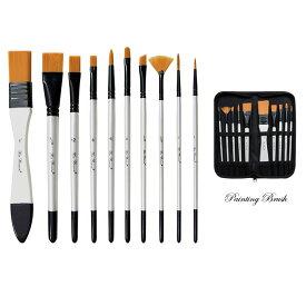 ペイント ブラシ 10点セット 収納ケース付き 油絵の具 アクリル筆 油絵筆 水彩筆 画筆 油絵筆 ホワイト