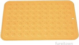 【お得です!】すべり止めマット(フラット吸盤型) 60X40cm(フラット吸盤型)《オレンジ》 隙間なくピッタリ吸着するフラット吸盤でノンスリップ。 高耐久性のシリコンゴム&抗菌剤配合。フラット吸盤だからお手入れがラク。