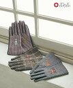 【Web限定】アニマル刺繍グローブ手袋 レディース スマホ対応 チェックグローブ ふりふセレクト てぶくろ グローブ チ…