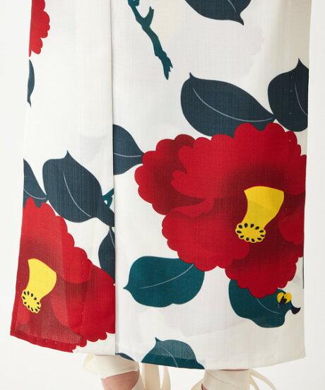 浴衣「椿オーバジーン」浴衣単品ふりふオリジナル日本製ゆかたレディース女性つばき花柄総柄和柄和風レトロモダンかわいい可愛い大人お洒落白紺大正ロマンふりふ20代30代40代大人粋