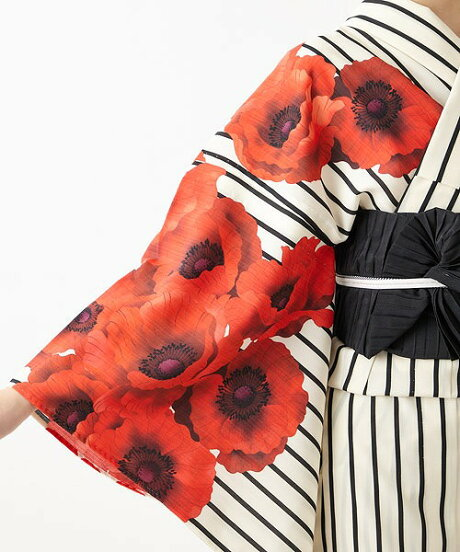 浴衣「姉萌音」浴衣単品ふりふオリジナル日本製ゆかたレディース女性総柄和柄和風花柄アネモネストライプ縞レトロモダンかわいいきれいお洒落華やかシンプル大人しっとり大正ロマンふりふ20代30代40代大人粋