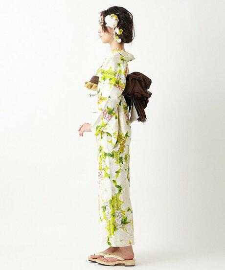 浴衣「花とあんみつ」ふりふ浴衣単品日本製ゆかたレディース女性総柄和柄和風花柄古典柄牡丹木蓮藤レトロモダンきれいお洒落華やかシンプル大人しっとり大正ロマン花火お祭りふりふ20代30代40代大人