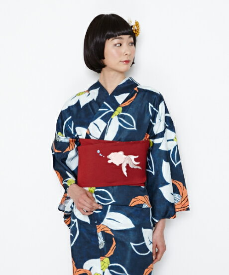 ふりふオリジナル【浴衣】【ゆかた】椿クレヨン