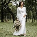 【楽天ランキング1位受賞】【再入荷】 ウェディングドレス エンパイアライン スレンダー 長袖 Vネック 袖あり 結婚式 …