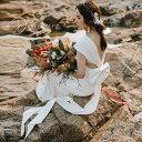 前撮りドレス ウェディングドレス エンパイアライン スレンダー バックリボン ロング 白ワンピース 白 結婚式 二次会 …