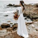 【楽天ランキング1位受賞】ウェディングドレス パーティー 袖あり 二次会 花嫁 スレンダーライン エンパイア カジュア…
