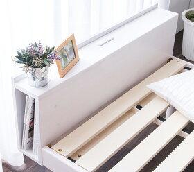 すのこベッドダブルベッドコンセント付頑丈シンプル天然木フレーム高さ3段階脚高さ調節敷布団ダブルベッド【送料無料】ベッドすのこ木製フロアローベッドブックシェルフ宮付