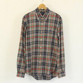 RALPH LAUREN ラルフローレン チェックシャツ ボタンダウン ワンポイント刺繍 長袖 マルチカラー メンズL n001590