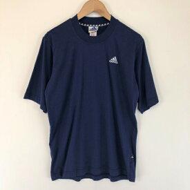 【古着】 adidas アディダス ワンポイントTシャツ モックネック 刺繍 ネイビー系 メンズS 【中古】 n001948