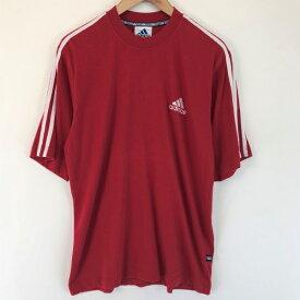 【古着】 adidas アディダス スポーツTシャツ 切替えデザイン モックネック ワンポイント刺繍 レッド系 メンズM n001950