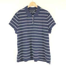 【古着】 TOMMY HILFIGER トミー・ヒルフィガー ボーダーポロシャツ 90年代 ネイビー系 レディースXL以上 n002529