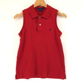 0eae249f19137 ラルフローレン ブランドポロシャツ スムース素材 無地 ワンポイント刺繍 スリーブレス レッド系 レディースXS