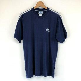 【古着】 adidas アディダス スポーツTシャツ ワンポイント刺繍 ネイビー系 メンズM 【中古】 n003044