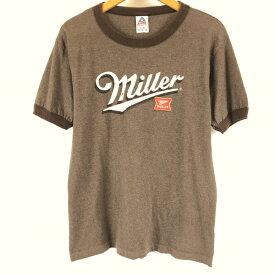 【古着】 MILER BERR ミラー ロゴプリントTシャツ リンガーネック ブラウン系 メンズM 【中古】 n004393