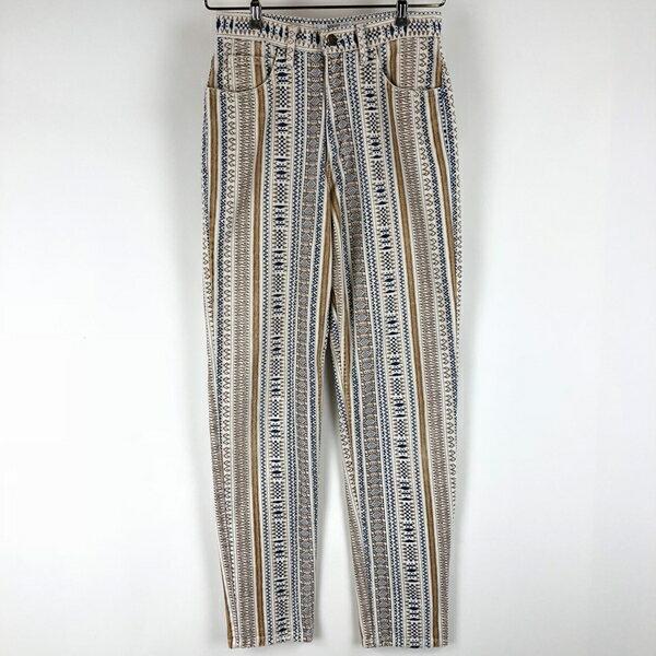 【古着】 Guess ゲス 柄パンツ made in USA ネイティブ柄 ベージュ系 レディースW26 【中古】 n004800