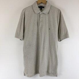【古着】 TOMMY HILFIGER トミー・ヒルフィガー 無地ポロシャツ ワンポイント刺繍 ベージュ系 メンズL n005496
