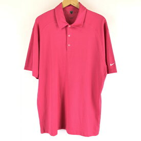 【古着】 NIKE ナイキ GOLF 無地ポロシャツ DRY-FIT メッシュ ピンク系 メンズXL 【中古】 n005748