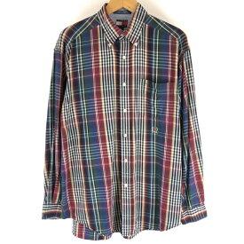 トミー・ヒルフィガー チェックシャツ 千鳥 ワンポイント刺繍 長袖 マルチカラー メンズM n005811