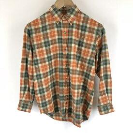 【古着】 LACOSTE ラコステ チェックシャツ ボタンダウン 7分袖 オレンジ系 レディースL 【中古】 n006729
