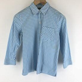 【古着】 RALPH LAUREN ラルフローレン チェックシャツ ギンガムチェック 7分袖 ブルー系 レディースS 【中古】 n006731